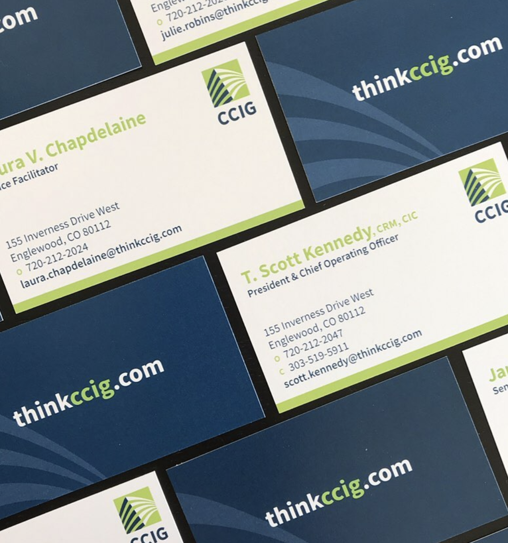 Navy and lime CCIG business cards