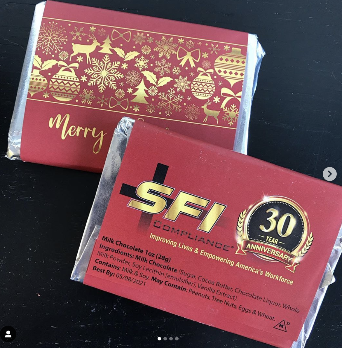 Custom SFI complimentary chocolates.