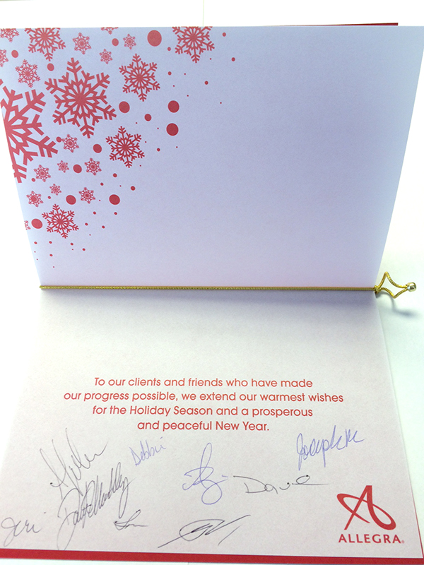 Christmas card from Allegra with a message to clients and friends.