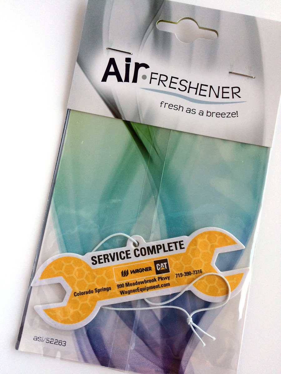 Printed and wrench-shaped air freshener