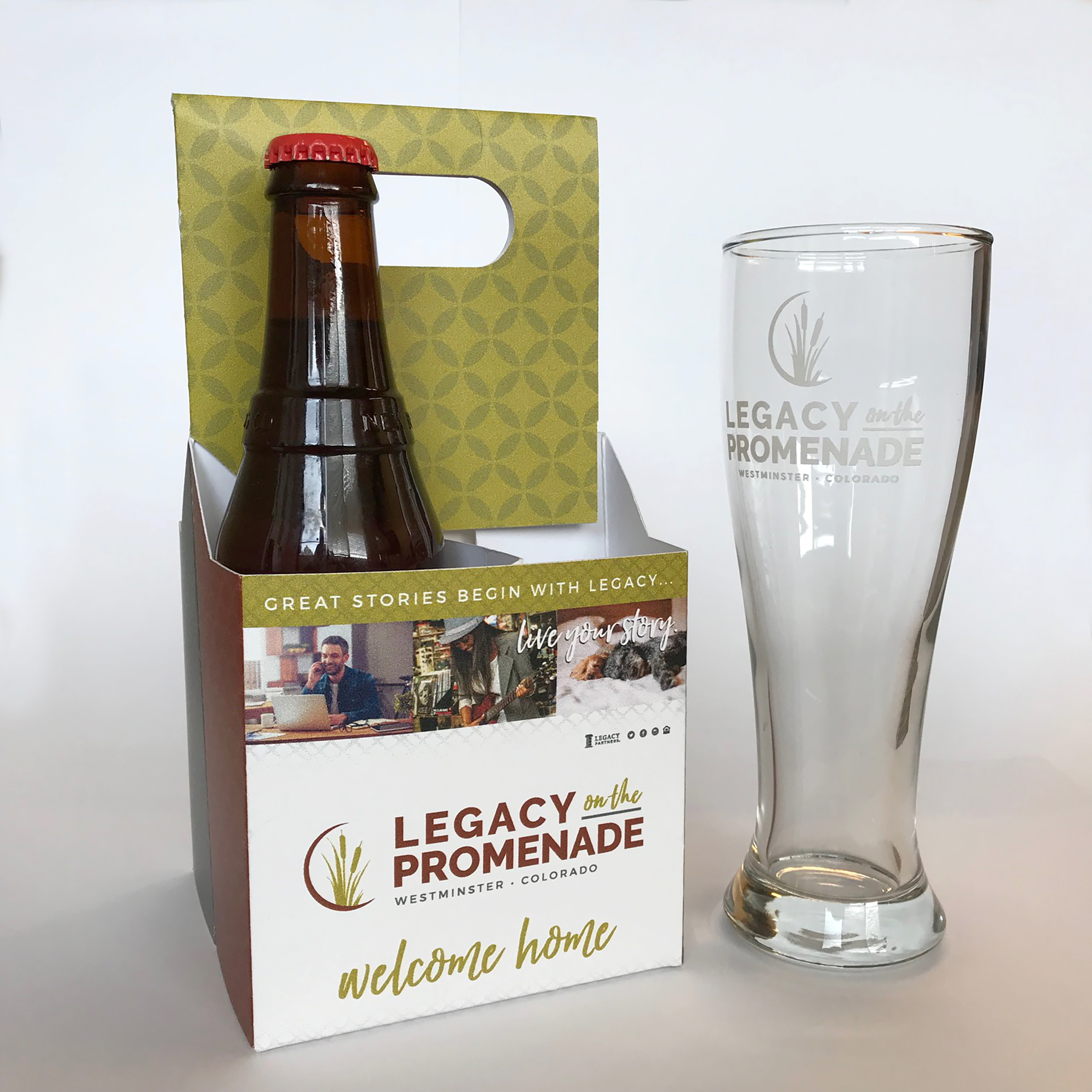 Custom printed 4-pack beer carrier and glass