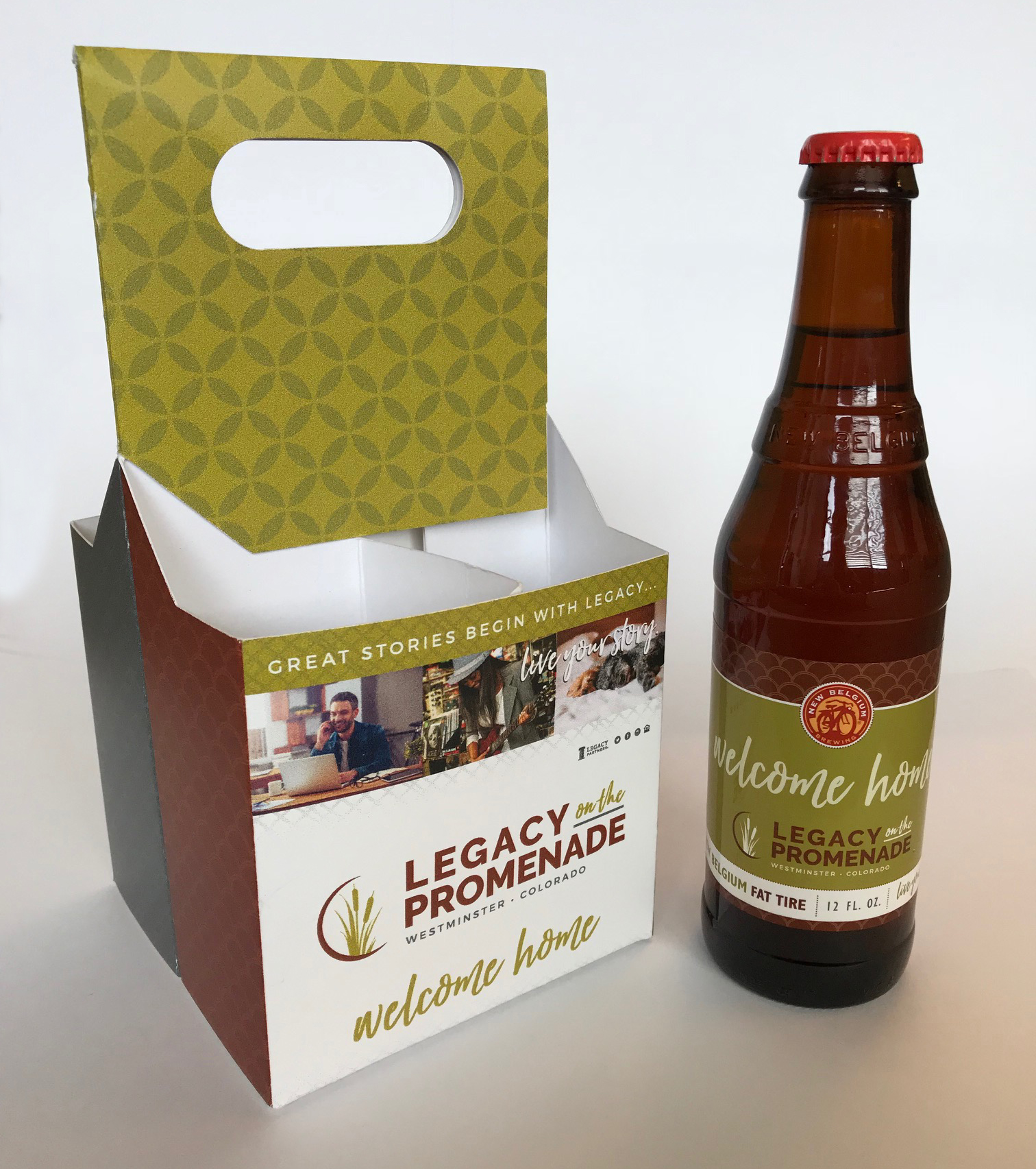 Custom printed 4-pack beer carrier and beer bottle label