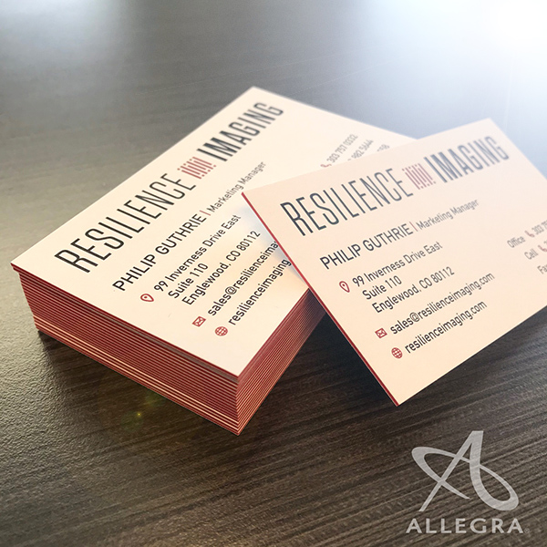 Thick business cards with colored edges