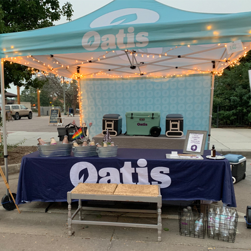 Oatis Display Tent and banner