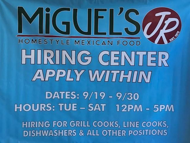Hiring event banner for Miguel's Jr in Corona, CA