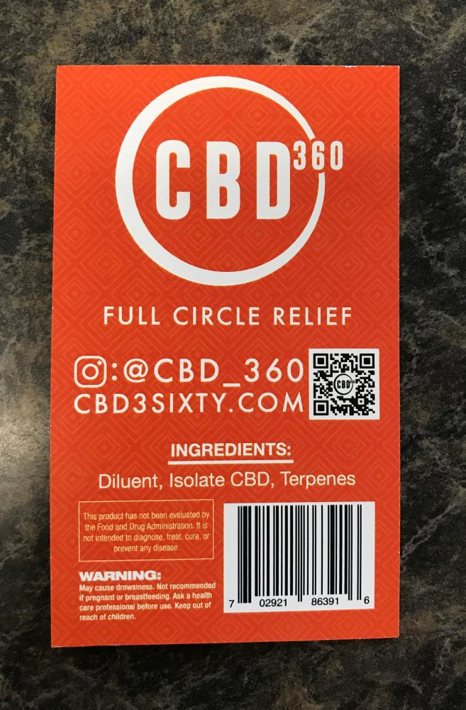 Product label for CBD360