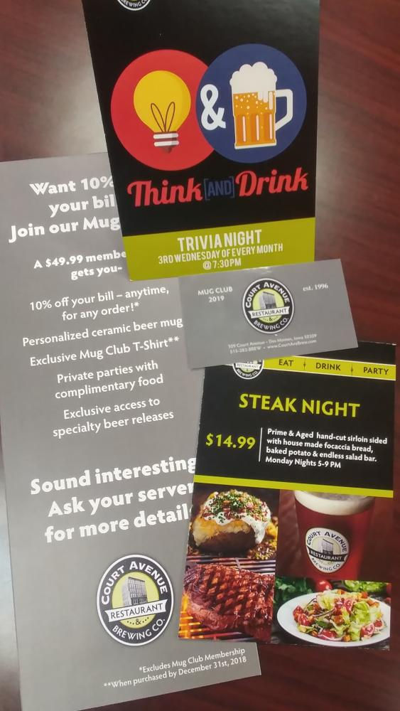 Restaurant Specialty Menus, Promotions and Loyalty Cards