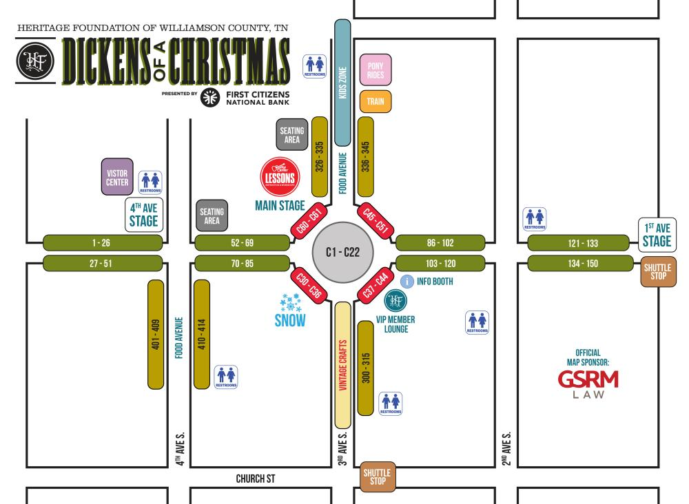 Map for the Dickens of a Christmas Festival app